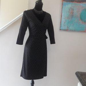 Loft/ Black/Tan/Polka Dot/Faux Wrap Dress